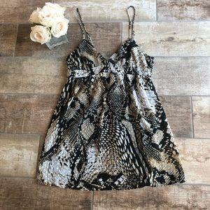 Zara Woman Python Snake Print Tie Back Dress Sz XS